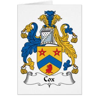 Escudo de la familia de cox tarjetas