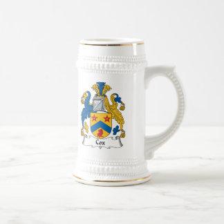 Escudo de la familia de cox taza de café
