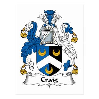 Escudo de la familia de Craig Tarjeta Postal