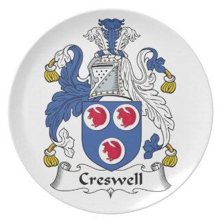 Escudo de la familia de Creswell Platos De Comidas