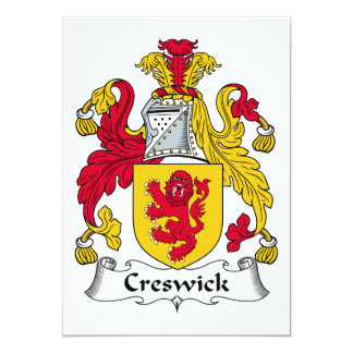 Escudo de la familia de Creswick Invitación 12,7 X 17,8 Cm