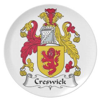 Escudo de la familia de Creswick Platos