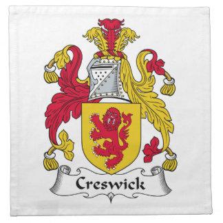 Escudo de la familia de Creswick Servilleta