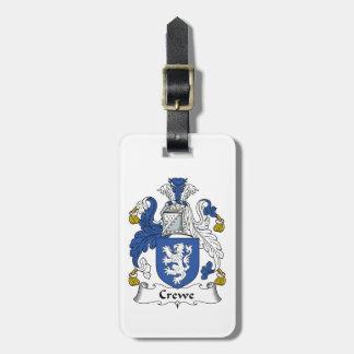 Escudo de la familia de Crewe Etiqueta De Maleta