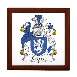 Escudo de la familia de Crewe Joyero Cuadrado Grande