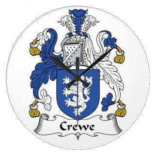Escudo de la familia de Crewe Reloj Redondo Grande