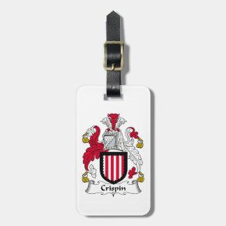 Escudo de la familia de Crispin Etiqueta De Equipaje