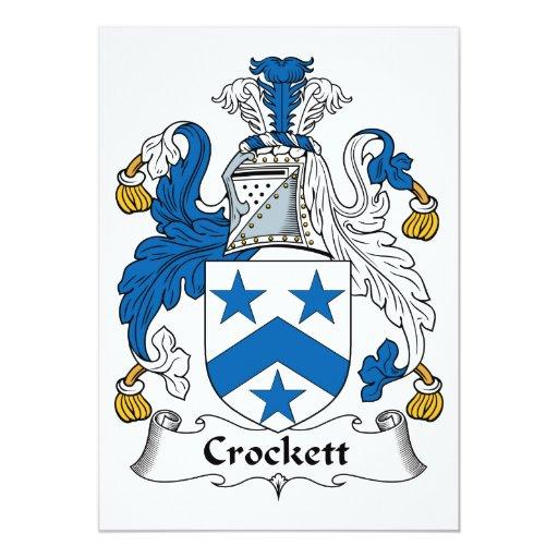 Escudo de la familia de Crockett Invitación 12,7 X 17,8 Cm