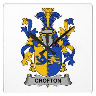 Escudo de la familia de Crofton Reloj Cuadrado