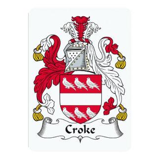 Escudo de la familia de Croke Invitación 12,7 X 17,8 Cm