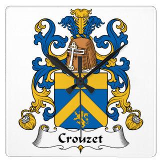 Escudo de la familia de Crouzet Reloj Cuadrado