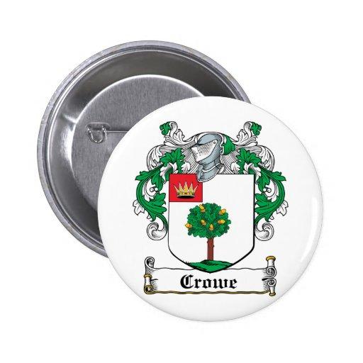 Escudo de la familia de Crowe Pin Redondo 5 Cm