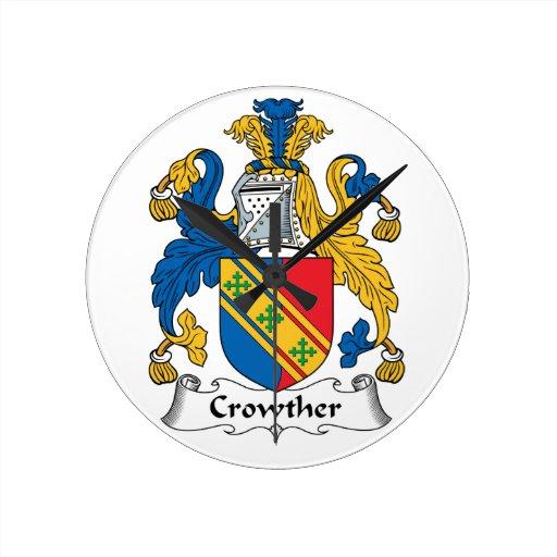 Escudo de la familia de Crowther Relojes De Pared