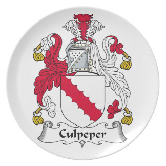 Escudo de la familia de Culpeper Plato Para Fiesta