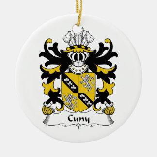 Escudo de la familia de Cuny Adorno Navideño Redondo De Cerámica