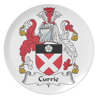 Escudo de la familia de Currie Platos De Comidas