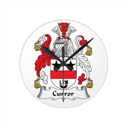 Escudo de la familia de Curror Reloj De Pared