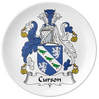 Escudo de la familia de Curson Platos De Cerámica