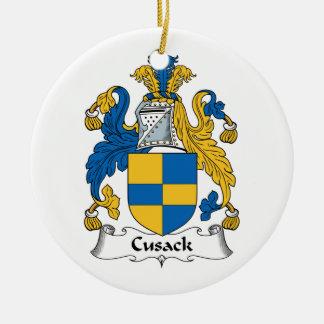 Escudo de la familia de Cusack Adorno Redondo De Cerámica