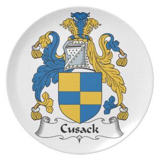 Escudo de la familia de Cusack Plato De Comida