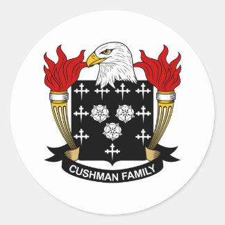 Escudo de la familia de Cushman Pegatina Redonda