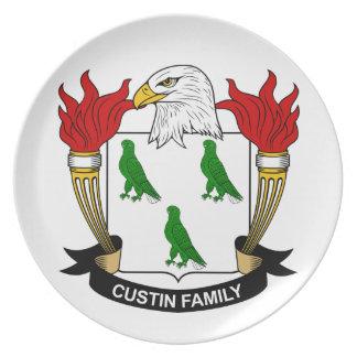 Escudo de la familia de Custin Plato Para Fiesta