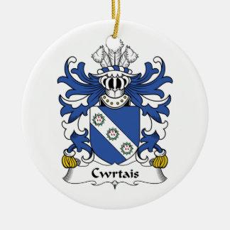 Escudo de la familia de Cwrtais Adorno Navideño Redondo De Cerámica
