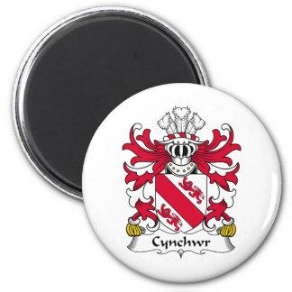 Escudo de la familia de Cynchwr Imán Redondo 5 Cm