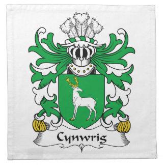 Escudo de la familia de Cynwrig Servilletas
