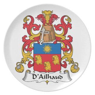 Escudo de la familia de D Ailhaud Plato Para Fiesta