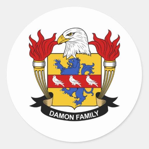 Escudo de la familia de Damon Pegatina Redonda