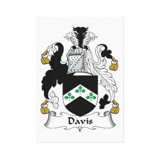 Escudo de la familia de Davis Lienzo Envuelto Para Galerías