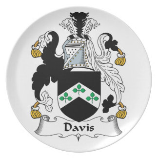 Escudo de la familia de Davis Plato Para Fiesta