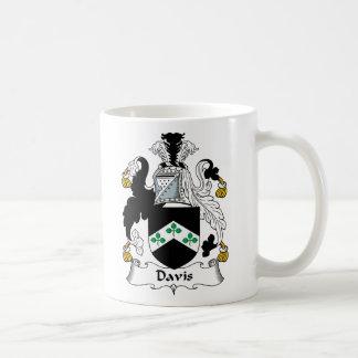 Escudo de la familia de Davis Taza Básica Blanca