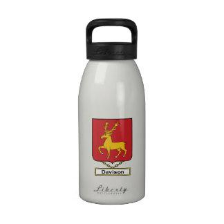 Escudo de la familia de Davison Botellas De Agua Reutilizables