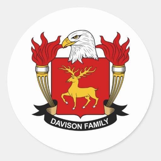 Escudo de la familia de Davison Pegatina Redonda