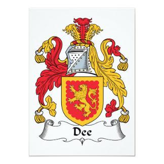 """Escudo de la familia de Dee Invitación 5"""" X 7"""""""