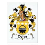 Escudo de la familia de Dehn Invitación 16,5 X 22,2 Cm