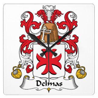 Escudo de la familia de Delmas Reloj Cuadrado