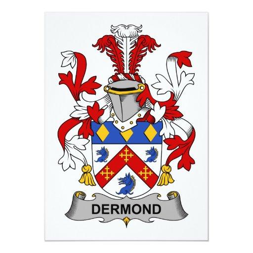 """Escudo de la familia de Dermond Invitación 5"""" X 7"""""""