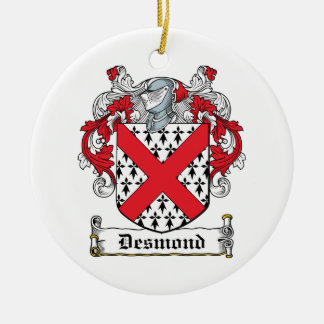 Escudo de la familia de Desmond Adorno Navideño Redondo De Cerámica