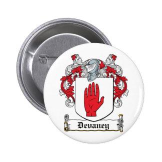 Escudo de la familia de Devaney Pin Redondo 5 Cm