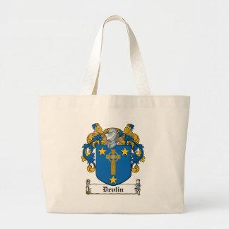 Escudo de la familia de Devlin Bolsa De Tela Grande
