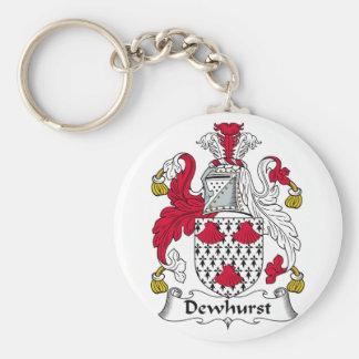 Escudo de la familia de Dewhurst Llavero Redondo Tipo Pin
