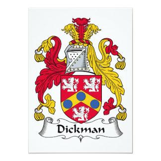 Escudo de la familia de Dickman Invitación 12,7 X 17,8 Cm
