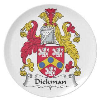Escudo de la familia de Dickman Platos Para Fiestas