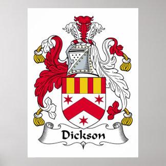 Escudo de la familia de Dickson Póster