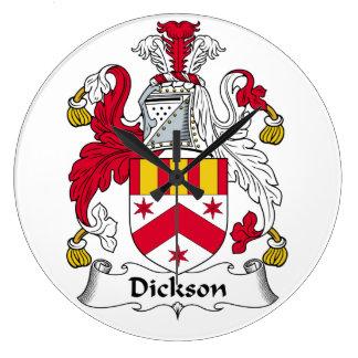 Escudo de la familia de Dickson Reloj Redondo Grande