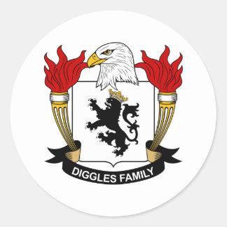 Escudo de la familia de Diggles Pegatina Redonda