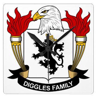 Escudo de la familia de Diggles Reloj Cuadrado